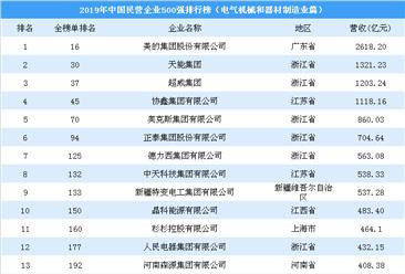 2019年中国民营企业500强排行榜(电气机械和器材制造业篇)