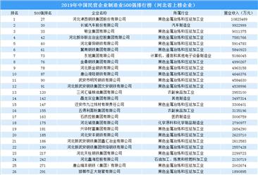 2019年中国民营企业制造业500强排行榜之河北企业篇