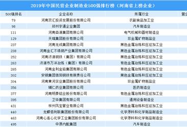 2019年中国民营企业制造业500强排行榜(河南企业篇)