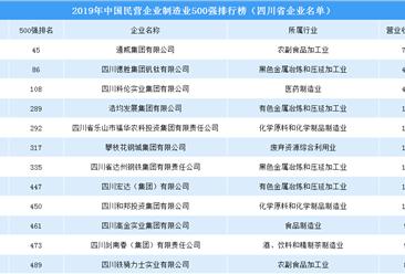 2019年中国民营企业制造业500强排行榜:四川12家企业上榜