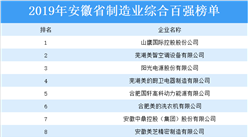 2019年安徽省制造业综合百强排行榜