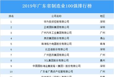 2019年广东省制造业100强排行榜