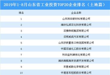 产业地产投资情报:2019年1-8月山东省工业投资top20企业排名(土地篇)