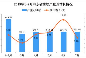 2019年1-7月山东省生铁产量为4173.68万吨 同比增长9.7%
