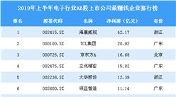 2019年上半年电子行业AB股上市公司最赚钱企业排行榜(全榜单)