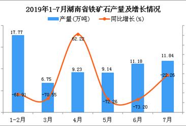 2019年1-7月湖南省铁矿石产量为77.85万吨 同比下降57.66%