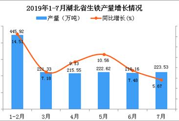 2019年1-7月湖北省生铁产量为1547.09万吨 同比增长9.78%