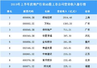 2019年上半年房地产行业AB股上市公司营业收入排行榜