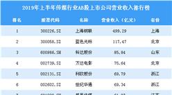 2019年上半年传媒行业AB股上市公司营业收入排行榜