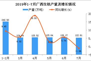 2019年1-7月广西生铁产量为865.62万吨 同比增长6.99%