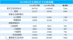 2019年6月全国医疗卫生机构大数据分析:医疗卫生机构同比增加7344个