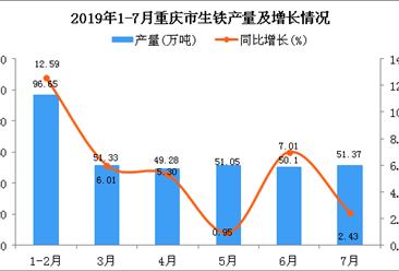 2019年1-7月重庆市生铁产量为349.78万吨 同比增长6.45%