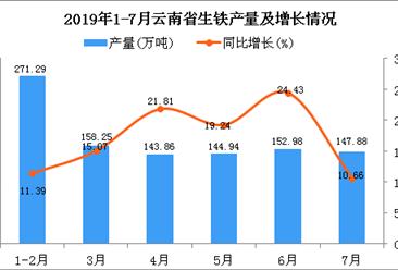 2019年1-7月云南省生铁产量为1019.19万吨 同比增长16.17%