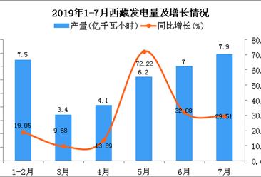 2019年1-7月西藏发电量为36.3亿千瓦小时 同比增长29.64%