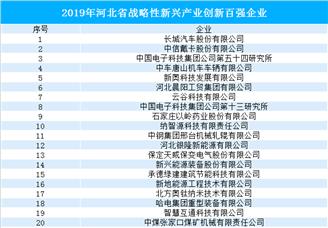 2019年河北省战略性新兴产业创新百强企业名单(附完整名单)