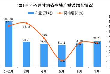 2019年1-7月甘肃省生铁产量为392.05万吨 同比增长9.11%