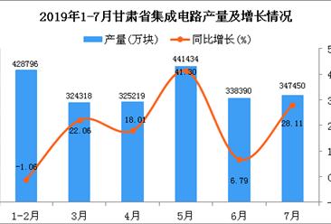2019年1-7月甘肃省集成电路产量同比增长17.97%
