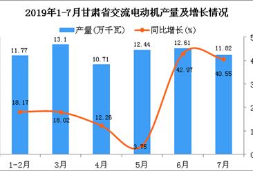 2019年1-7月甘肃省交流电动机产量为72.45万千瓦 同比增长21.11%