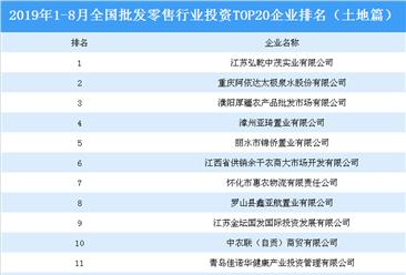 商业地产招商情报:2019年1-8月全国批发零售行业投资top20企业排名(土地篇)