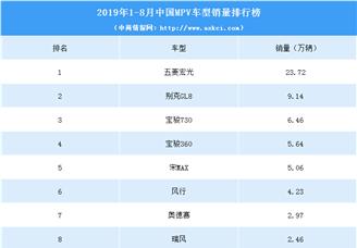 2019年1-8月中国MPV销量排行榜(TOP15)