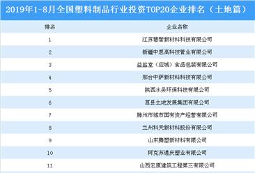产业地产投资情报:2019年1-8月全国塑料制品行业投资top20企业排名(土地篇)