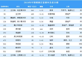 2019年胡润百富榜上榜企业家排行榜(河北省分榜)
