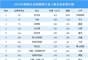2019年胡润百富榜(钢铁篇):日照钢铁杜双华财富最多(附榜单)