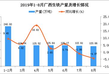 2019年1-8月广西生铁产量为980.91万吨 同比增长4.89%