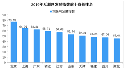 2019年中国互联网发展指数前十省份排行榜