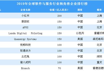 2019年全球软件与服务行业独角兽企业排行榜