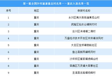 第一批全國鄉村旅游重點村名單出爐:重慶共9個鄉村入選(附圖表)