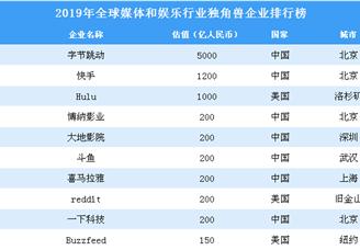 2019年全球媒體和娛樂行業獨角獸企業排行榜