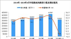 2019年1-3季度中國集成電路進口量為314322百萬個 同比下降2.5%