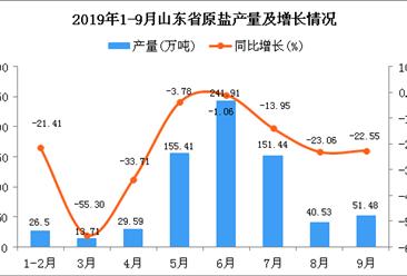2019年1-3季度山东省原盐产量为743.67万吨 同比下降8.21%