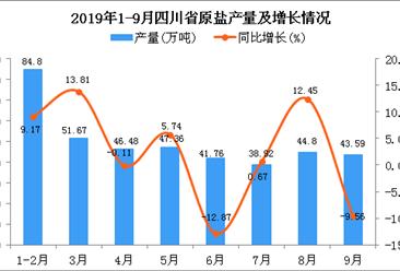 2019年1-9月四川省原盐产量及增长情况分析
