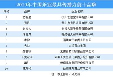 2019年中国茶业最具传播力前十品牌:谢裕大等品牌上榜