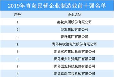2019年青岛民营企业制造业10强排行榜
