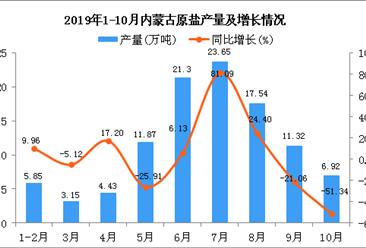 2019年1-10月内蒙古原盐产量及增长情况分析