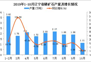 2019年1-10月辽宁省磷矿石产量为18.27万吨 同比增长8.62%