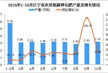 2019年1-10月辽宁省农用氮磷钾化肥产量为30.76万吨 同比增长4.17%