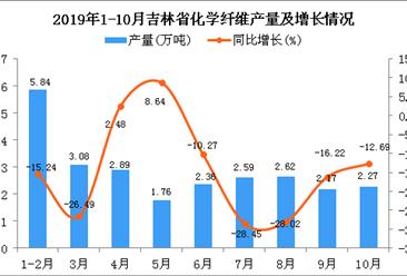 2019年1-10月吉林省化学纤维产量为25.81万吨 同比下降7.72%