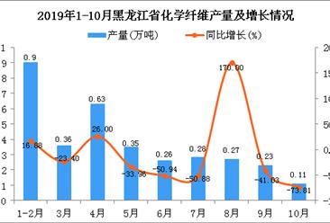 2019年1-10月黑龙江省化学纤维产量为3.13万吨 同比下降26.87%