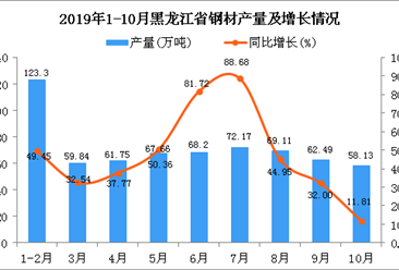 2019年1-10月黑龙江省钢材产量同比增长45.98%