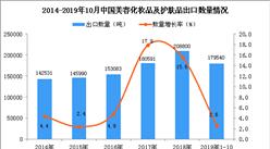 2019年1-10月中国美容化妆品及护肤品出口量同比增长2.6%