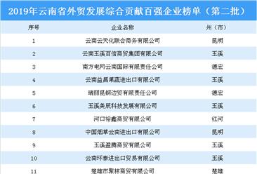 2019年云南省外贸发展综合贡献百强企业(第二批)排行榜