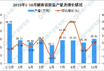 2019年1-10月湖南省原盐产量为264.48万吨 同比下降0.79%