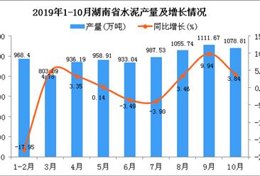 2019年1-10月湖南省水泥产量同比下降0.24%