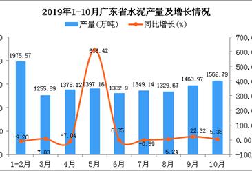 2019年1-10月广东省水泥产量为13137.33万吨 同比增长13.05%