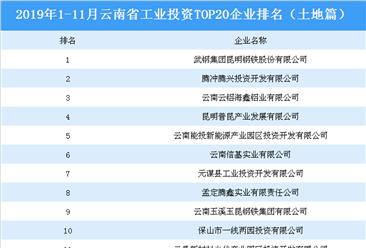 产业地产投资情报:2019年1-11月云南省工业投资top20企业排名(土地篇)