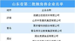 山东省第二批独角兽企业名单出炉:浪潮云等6家企业入选(图)